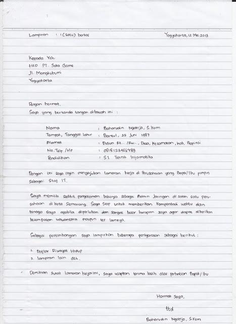 Surat Lamaran Kerja Menggunakan Bahasa Inggris