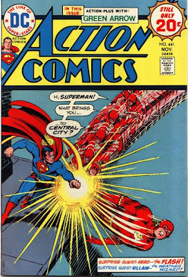 Action Comics #441, Superman punches the Flash as he runs towards him, Nick Cardy cover