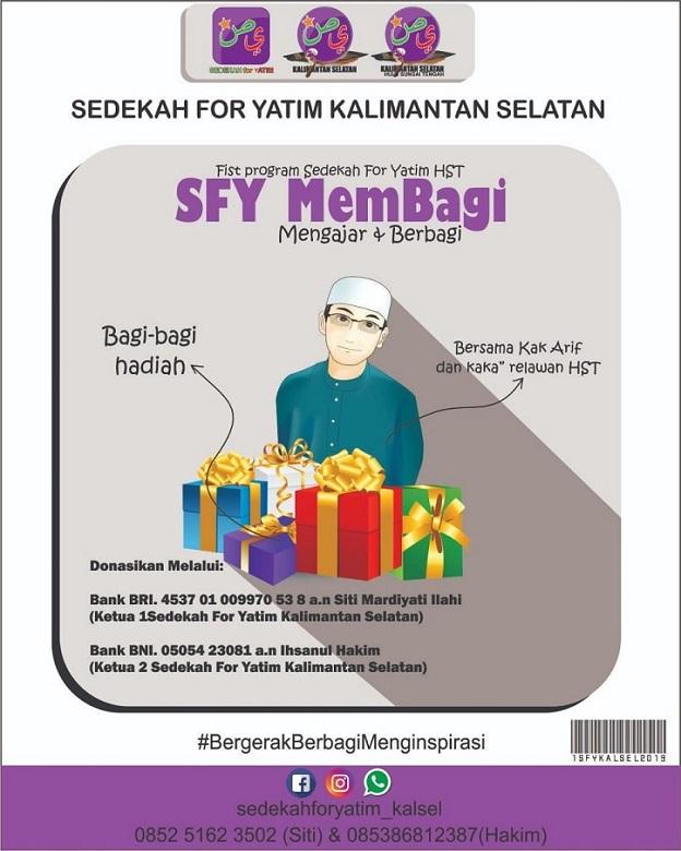 Kontak Person Komunitas Sedekah For Yatim (SFY) Kalimantan Selatan