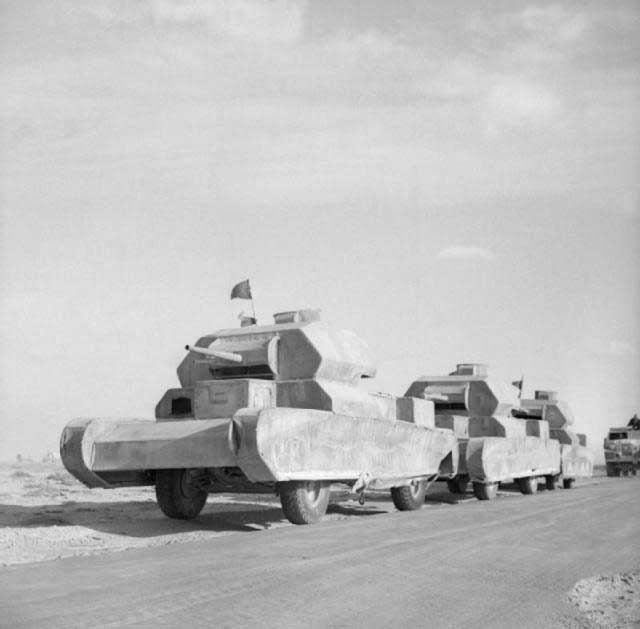 Dummy tanks being taken to the front by the British in North Africa, 13 February 1942 worldwartwo.filminspector.com