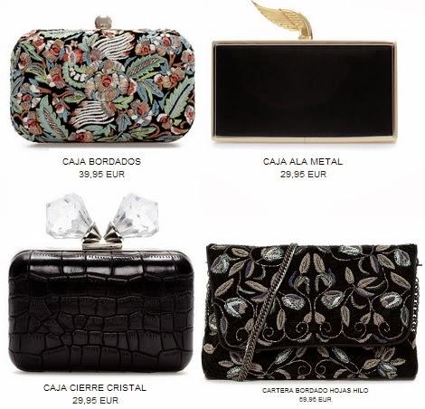 En Zara encontraremos bolsos de fiesta, clutchs y cajas, en las que los  tonos clásicos o los bordados son las principales tendencias.