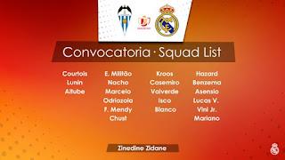 Los Convocados por Zidane para el debut en la Copa