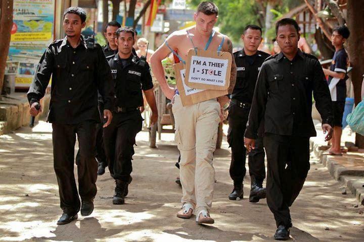 pencuri di gili trawangan Lombok di arak keliling pulau