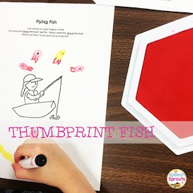 Make thumbprint fish in speech therapy. Read this post for 14 terrific shark week ideas www.speechsproutstherapy.com #speechtherapy #preschool #kindergarten