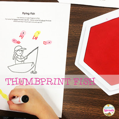 Make thumbprint fish in speech therapy. Read this post for 14 terrific shark week ideas www.speechsproutstherapy.com #speechtherapy #preschool #kindergarten