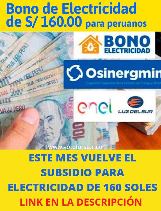 Bono Electricidad: 160 Soles