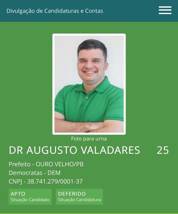 Justiça Eleitoral defere registro de candidatura de Dr. Augusto Valadares