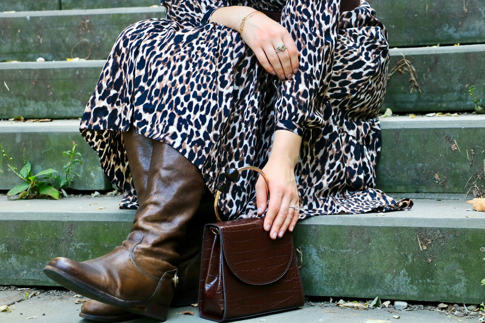 Nyc fashion blogger Kathleen Harper wearing tall brown Frye boots.