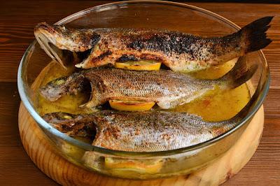 Pescados y vegetales al horno
