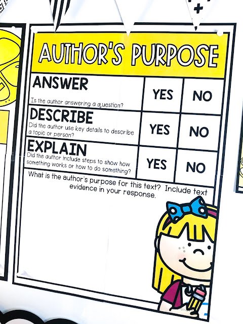 Author's purpose anchor chart, author's purpose activities, printables, and more!  Tips and tricks for teaching students to determine the author's main purpose for writing a text, including what an author want to answer, explain, or describe.