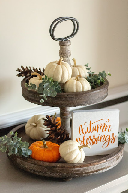 2 tiered wooden tray with pumpkins