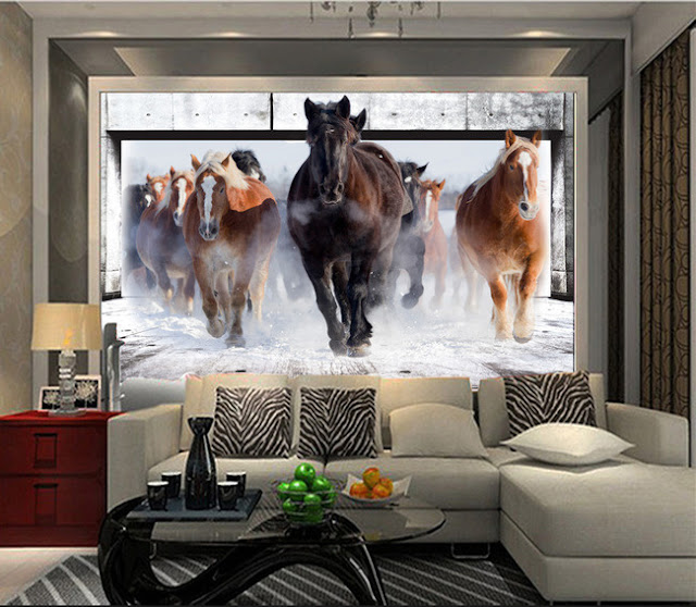 Horse wall murals Wallpaper white horses galloping run photo wallpaper living room bedroom 3d girls room winter