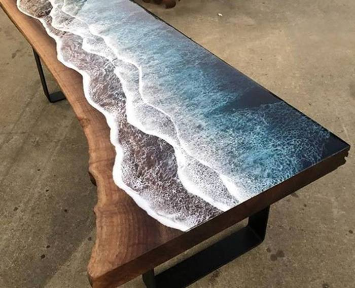 A 'lively' sea figure on a coffee table made by artist Rivka Wilkins and carpenter Jared Davis