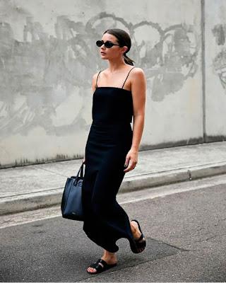Vestido negro largo minimalista