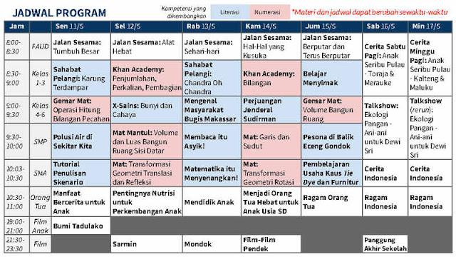 Jadwal Belajar di Rumah 11-17 Mei