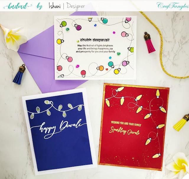 Craftangles Festive lights, Craftangles Diwali sentiments, Diwali cards, easy diwali cards, quick diwali cards, diwali lights card, handmade diwali cards