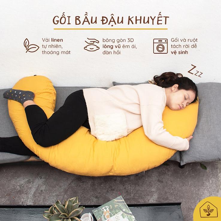 [A159] Gối bầu chăm sóc giấc ngủ cho mẹ và bé - Gối bầu đậu khuyết