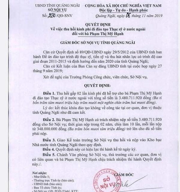 Con Chủ tịch TP Quảng Ngãi tốn 4,5 tỷ của nhà nước đi học nước ngoài nhưng không phục vụ như cam kết