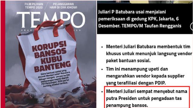 Heboh, TEMPO Ungkap Pengadaan Goodie Bag Bansos Atas Rekomendasi Gibran Putera Jokowi