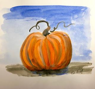 Pumpkin Sketch, Ultramarine Blue and Cadmium Orange ©2019 Tina M.Welter