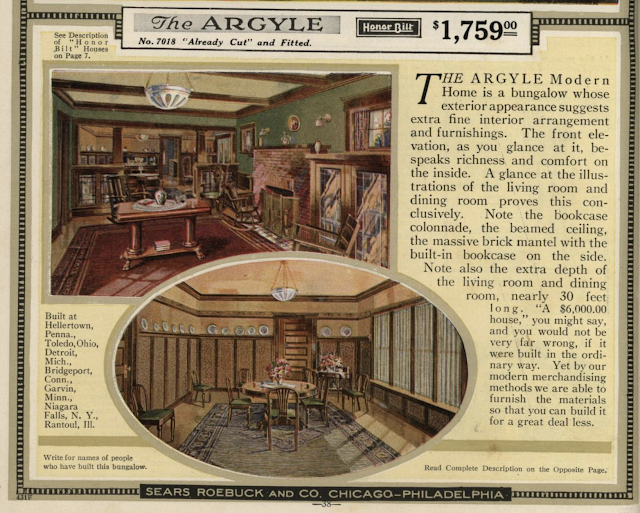 color print image of description of Sears Argyle in 1921 Sears Modern Homes catalogue