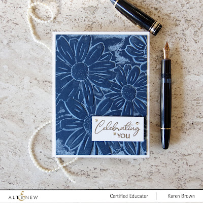 Navy cardstock + white pigment ink + Altenew Daisies 3D embossing folder