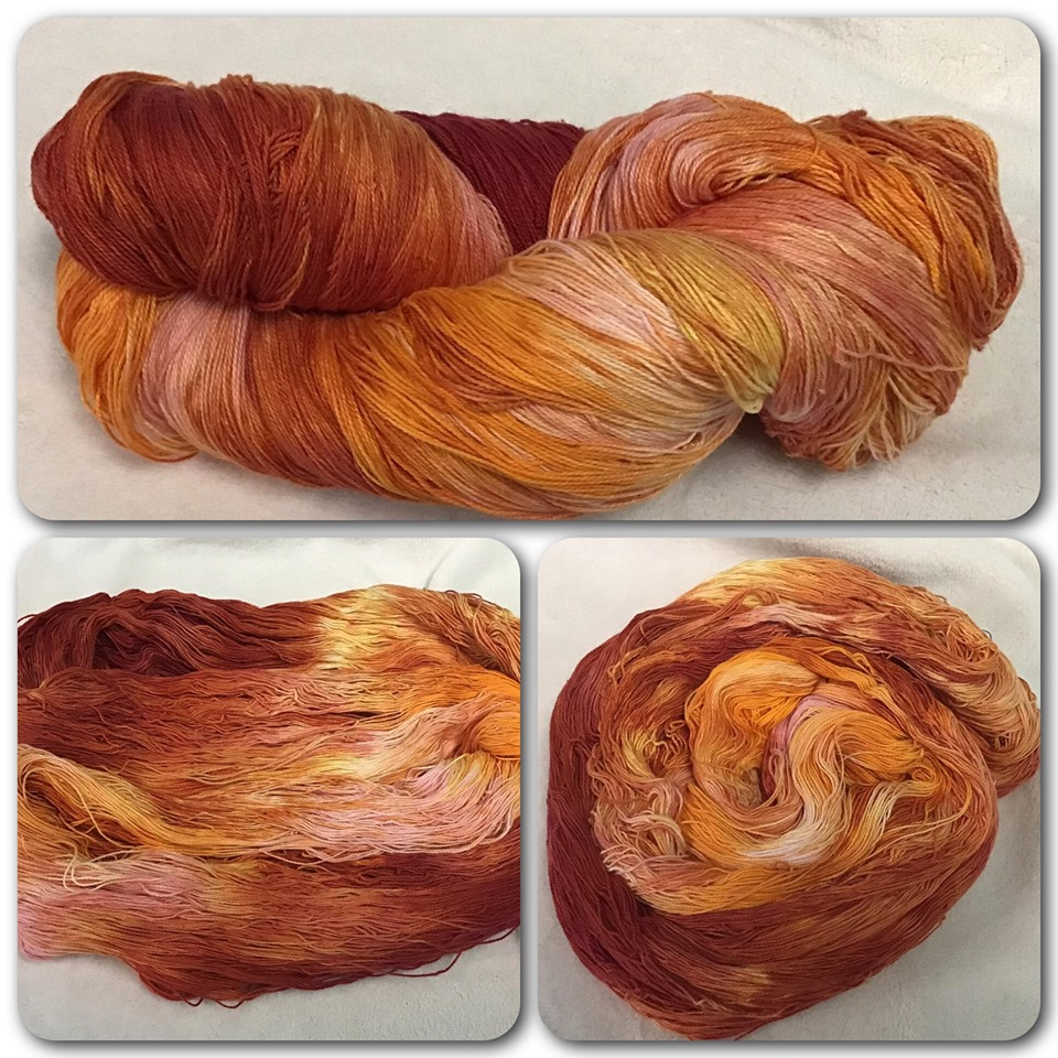 Red/Orange Hand dyed cotton yarn