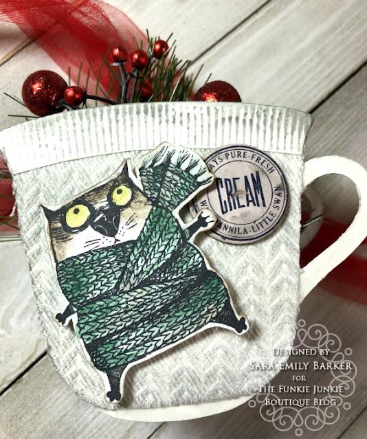 Sara Emily Barker https://sarascloset1.blogspot.com/2020/12/cozy-crazy-tea-cups-for-christmas.html  #eileenhull #3Dteacupandspoon #timholtz #snarkycatchristmas #sizzix #knitted3Dembossing 3