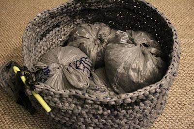 plarn, plastic yarn, recycle, crochet, home decor, floor pouf