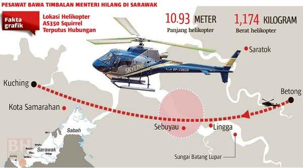 gambar helikopter terhempas sarawak, helikopter terhempas, badan helikopter dijumpai