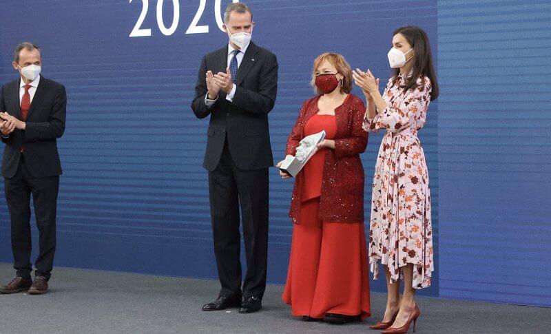 Queen Letizia wore a kalocca floral print shirt dress from Hugo Boss