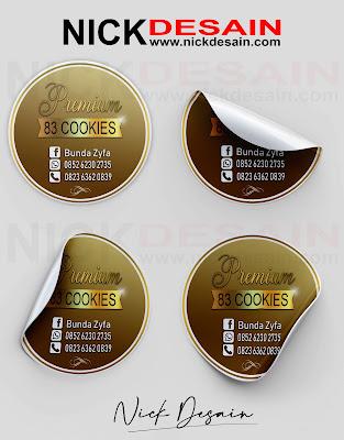 Contoh Desain Logo Stiker Label Cookies Warna Cokelat Gold - Percetakan Tanjungbalai