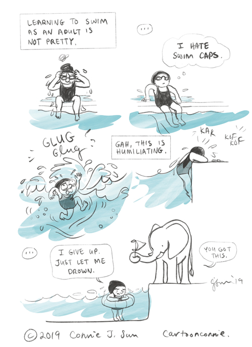 swimming, comics, comic art, cartoon, comic strip, journal comic, connie sun, cartoonconnie