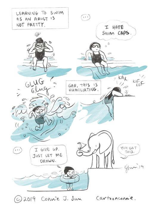 swimming, comics, comic art, cartoon, comic strip, journal comic, connie sun, cartoonconnie