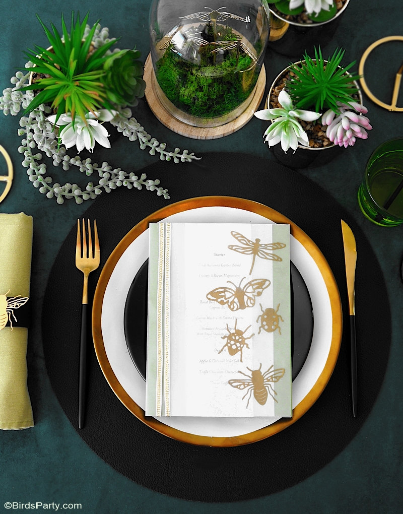 A Botanical Tablescape with 5 DIY Projects - easy crafts to help decorate a gorgeous Entomology inspired table for any party or celebration! by BirdsParty.com @birdsparty for Sizzix #entomologyparty #insectsparty #botanicaltable #botanicaltablescape #autumnwedding #fallwedding #botanicalcrafts #greenerytable #greenerytablescape #falldinnerparty