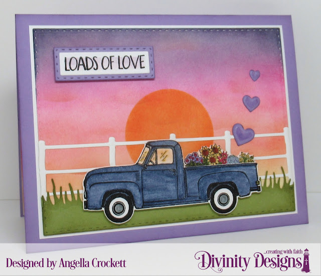 Divinity Designs LLC: Loads of Love Stamp/Die Duos, Custom Dies: Double Stitched Rectangles, Rectangles, Farm Fence, Circles, Grass Lawn; Card Designer Angie Crockett
