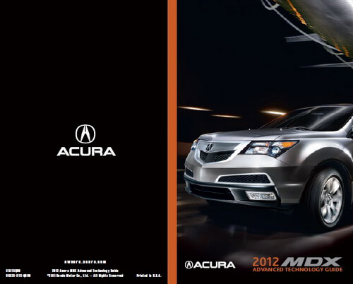 Download 2012 Acura MDX Owner's Manuals & Guides