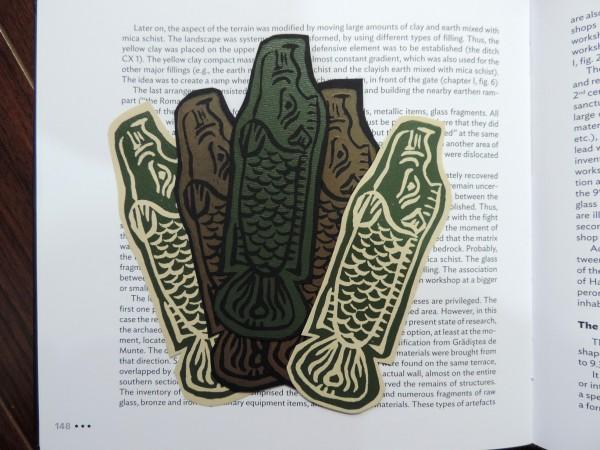 Un intentional contemporary art in transylvania linocut for Fish symboled stamp