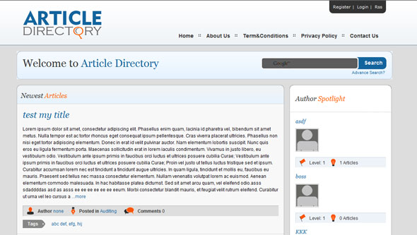 Article Directory Wordpress Theme Free Download by Dailywp.