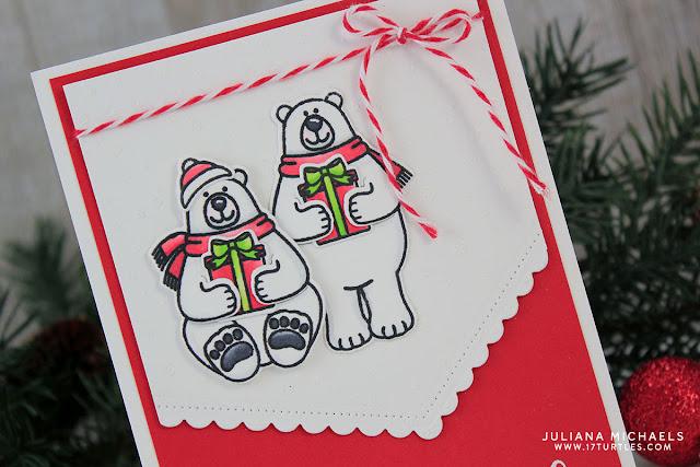 Polar Bear Christmas Card by Juliana Michaels featuring Playful Polar Bears by Sunny Studio Stamps