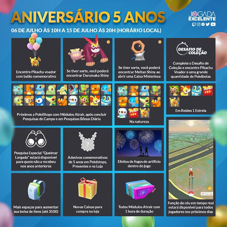Pokémon GO Evento Aniversário de 5 Anos