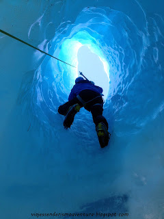 Escalando en el hielo del glaciar Tasman