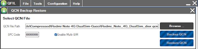 restore qcn redmi note prime (4G dual sim) dior dengan qfil