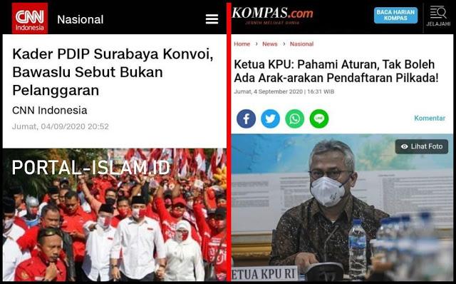 MEREKA MAH BEBAS...!! Kader PDIP Surabaya Konvoi, Bawaslu Sebut Bukan Pelanggaran, Padahal KPU Melarang