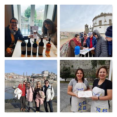 Guia BRasileira com vários turistas brasileiros no Porto