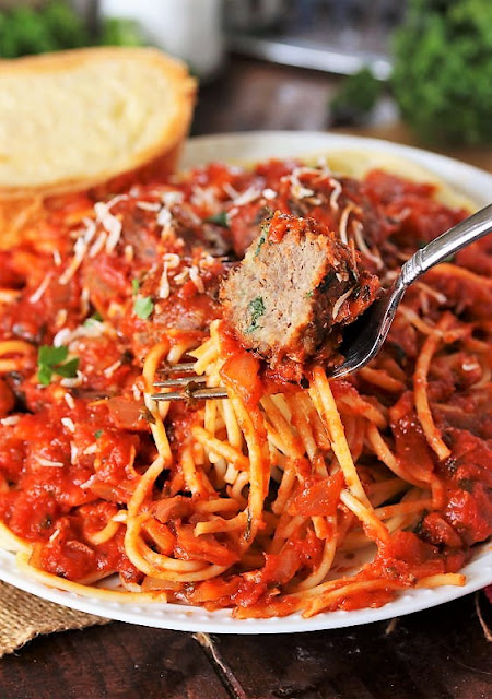 Fork with Classic Spaghetti and Meatballs Image