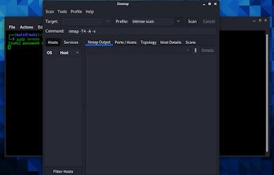 Zenmap running on kali linux 20121