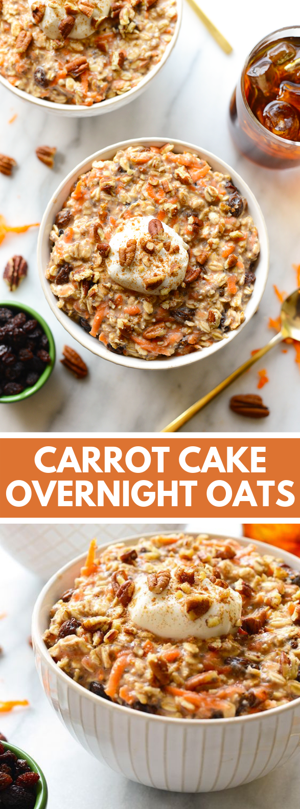 CARROT CAKE OVERNIGHT OATS #breakfast #healthty