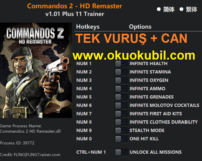 Commandos 2 HD Remaster Tek Vuruş, Oksijen, Gizli Mod +11 Trainer