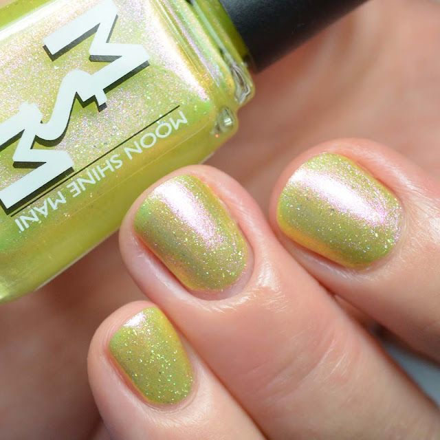 yellow nail polish with shimmer swatch